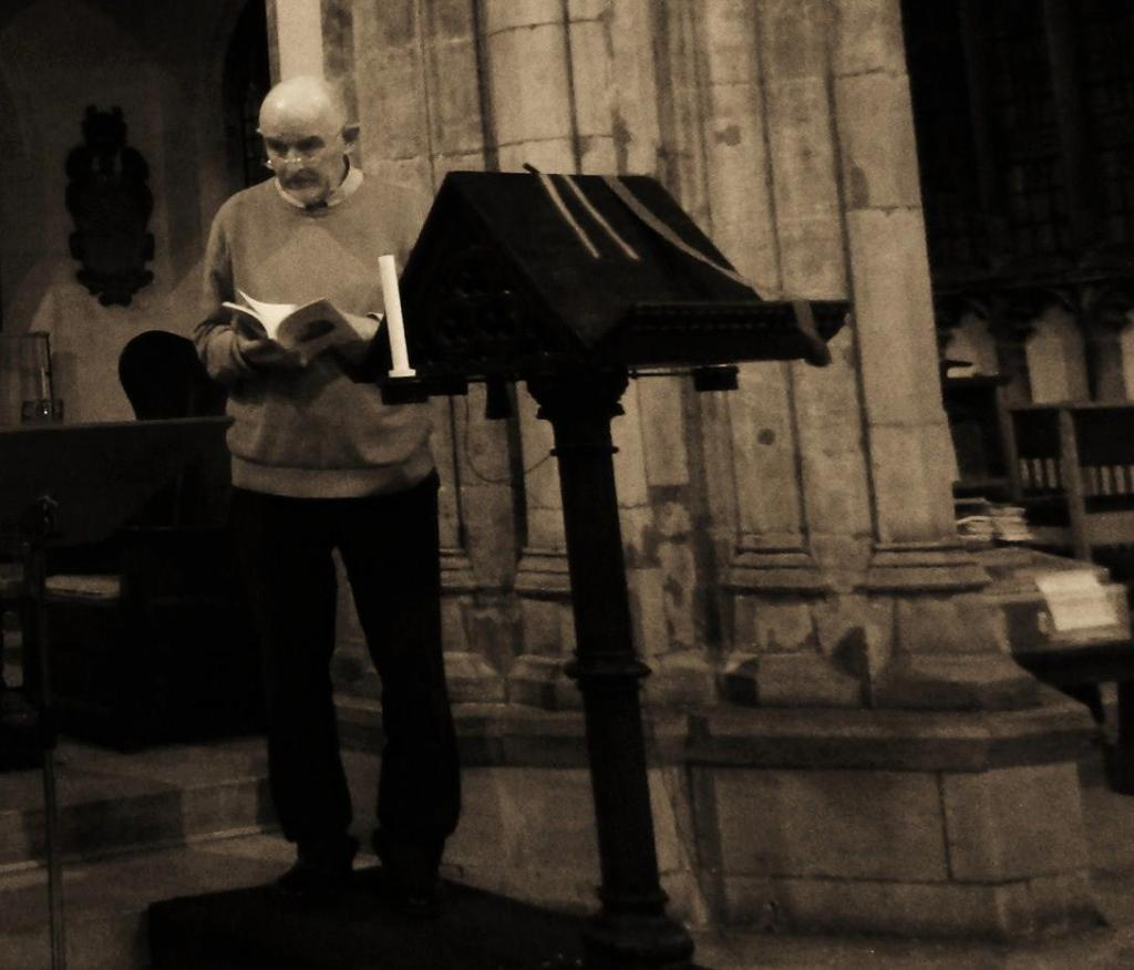 Geoffrey Barnes about to read the poem 'The Lectern' at the lectern for which it was written