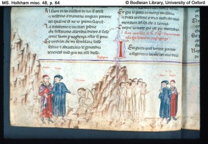 Dante meets Belaqua from a Bodleian Maanuscript