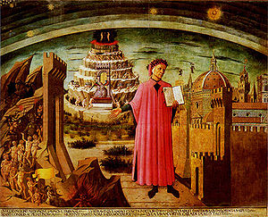 Dante with mount Purgatory in the background