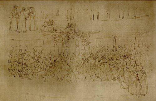 Botticelli illustrates Purgatorio 27, Dancing through the Fire