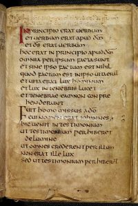 The opening page of Cuthbert's copy of St. John