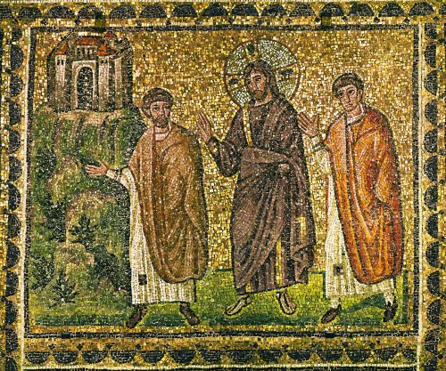 Christ appears to the Apostles on the road to Emmaus. Mosaic (6th)
