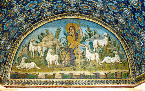 an early depiction of Christ the Good shepherd from a mosaic in Ravenna