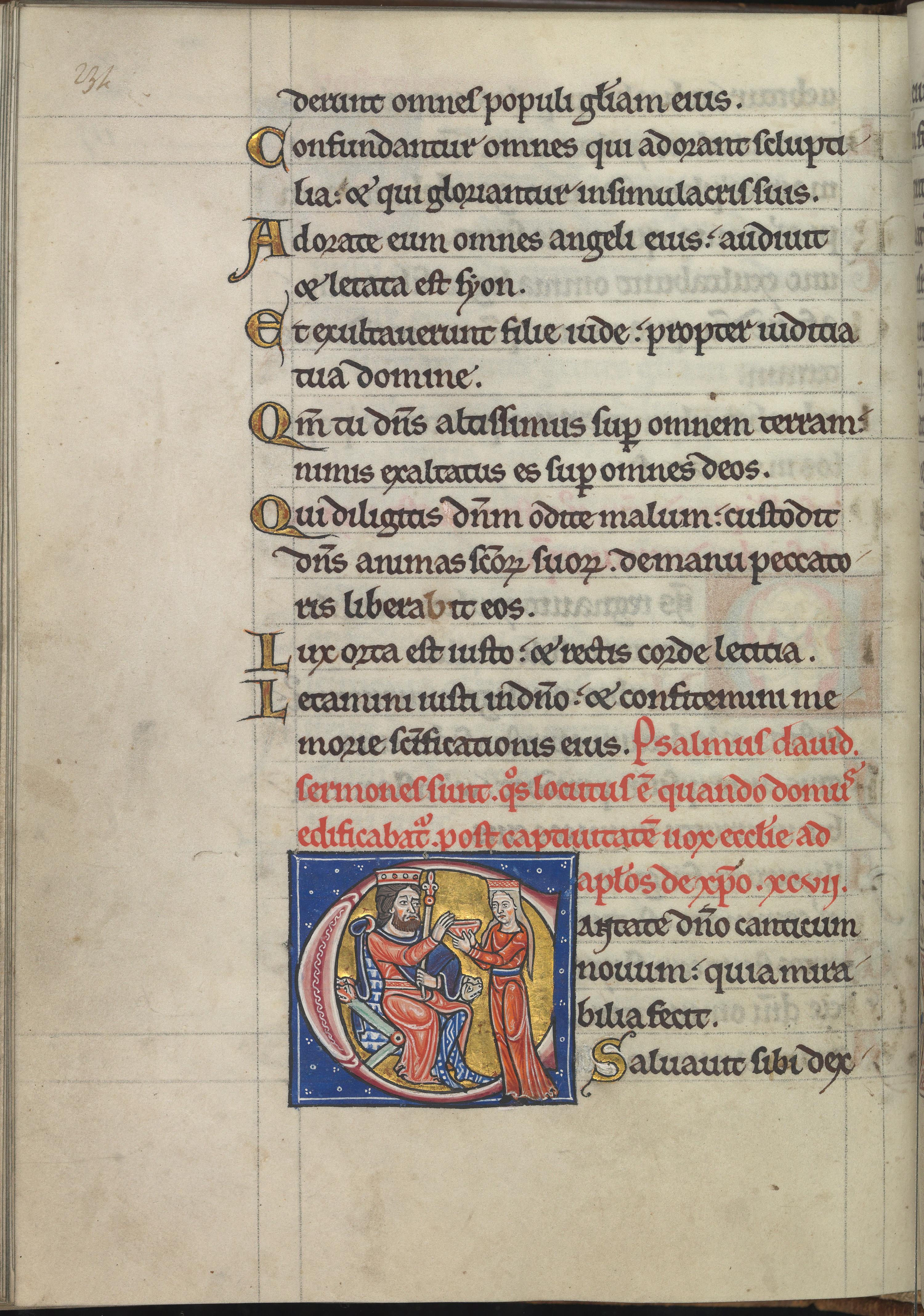 Psalm_97,_Cantate_domino_canticum_novum,_quia_mirabilia_fecit,_King_David_and_a_woman_(Ecclesia?)_offering_him_a_chalice_-_Psalter_of_Eleanor_of_Aquitaine_(ca._1185)_-_KB_76_F_13,_folium_117v